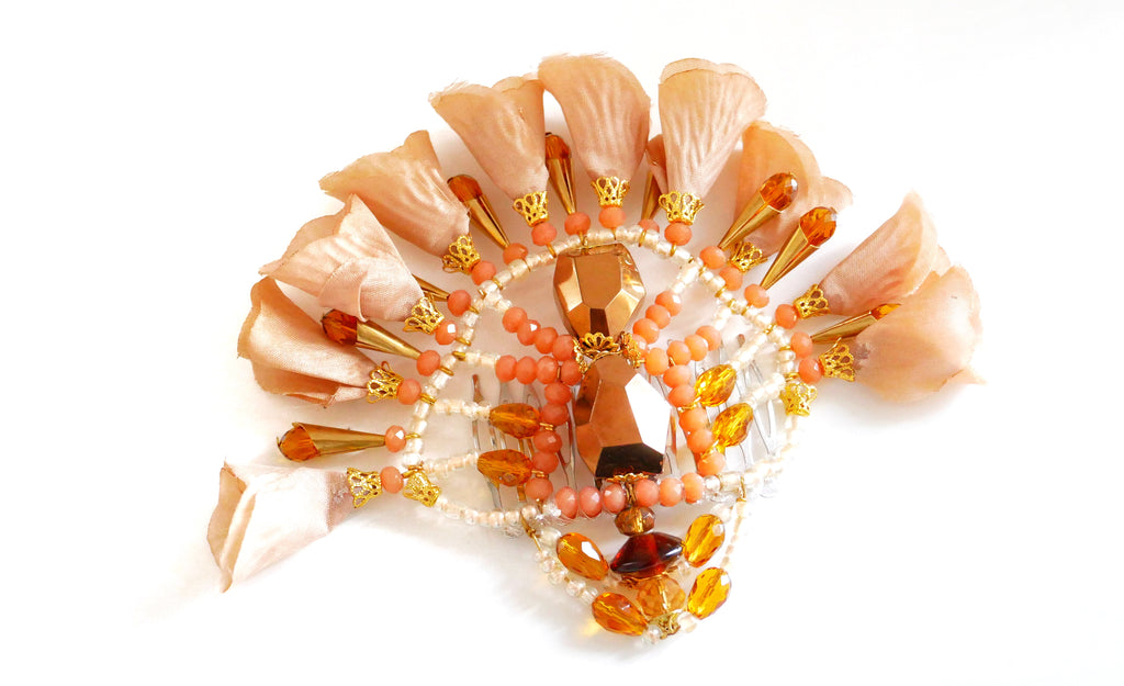 Shani Beaded Flower Hair Comb  By Anita Quansah Londonn