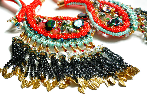 Shira Paisley Embellished Swarovski Crystals And Mixed Gemstone Tassel Statement Necklace
