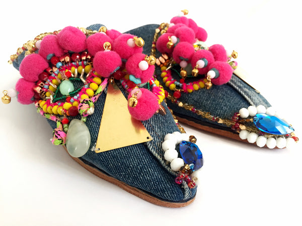 Sienna Beaded Swarovski And Embellished Pom-Pom Denimr Mules
