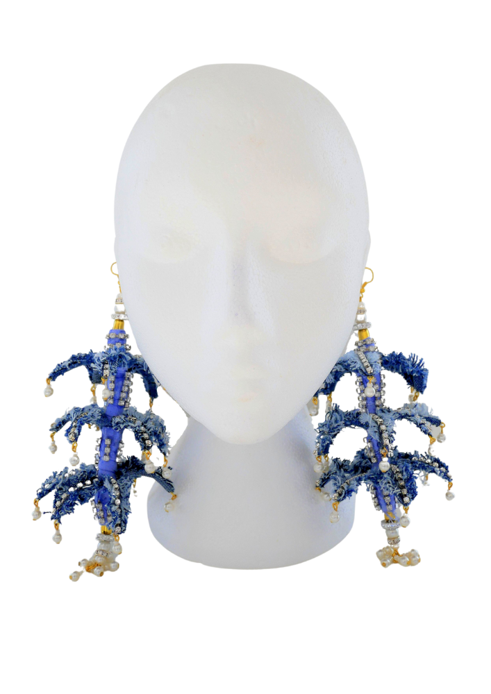 Siyanda Crystal-Embellished Denim Pine-Tree Earrings