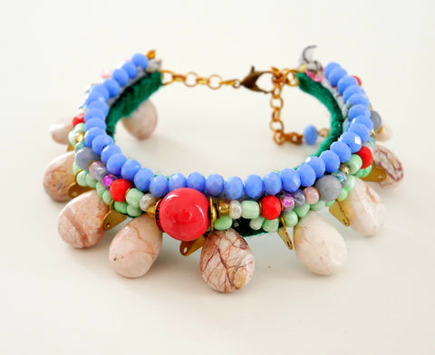 Somadina Multi Beaded and White Turquoise Bracelet