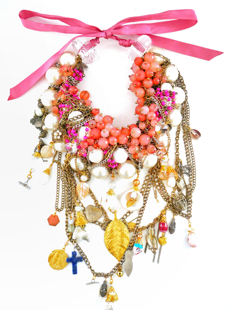 Sophia, Multi-Stone Embellished Chain Charm And Shell Statement Necklace