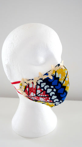 African Cotton Print Washable, Reusable Face Mask With Butterfly Trim