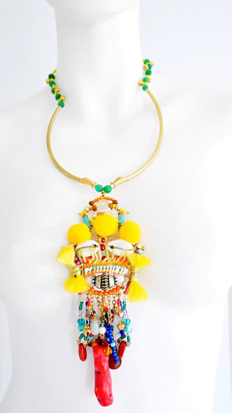 Tove Beaded Embellished Tassel Pendant Necklace