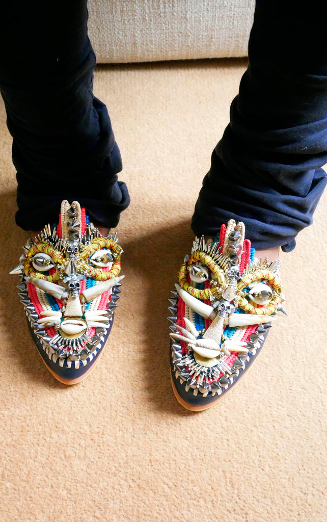 Uzoamaka Embellished Beaded Studded Leather And Raffia Mask Slippers