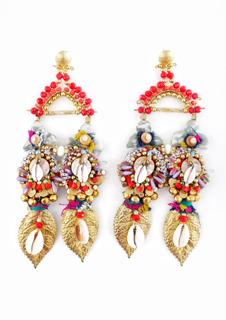 Vita Beaded-Embellished Drop Earrings By Anita Quansah London