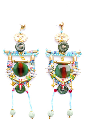 Viva Gemstone-Embellished Lava Rock Drop Earrings with Brass Mask Pendants