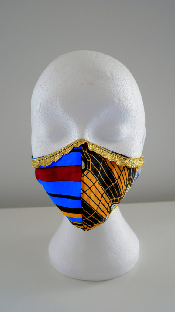 Washable, Reusable Two Tone African Print Face Mask With Gold Frill Trim