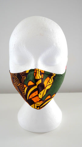 WASHABLE, REUSABLE, AFRICAN SWIRL PRINT FACE MASK
