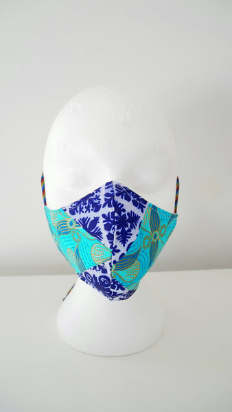 Washable, Reusable, Mixed African Print Face Mask With Filter Pocket