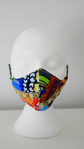 Washable, Reusable,  Mixed Print, Lace Trim Face Mask With Filter Pocket