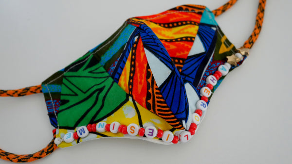 Washable, Reusable, African Print Child Affirmation Patchwork Face Mask