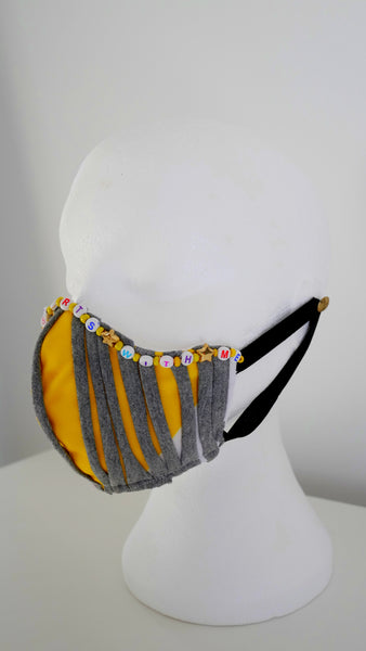 Washable, Reusable, Jersey Strips Beaded Affirmation Face Mask