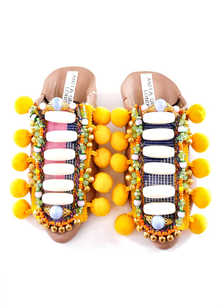 Willa Beaded And Pom-poms Embellished Leather Kids Mules