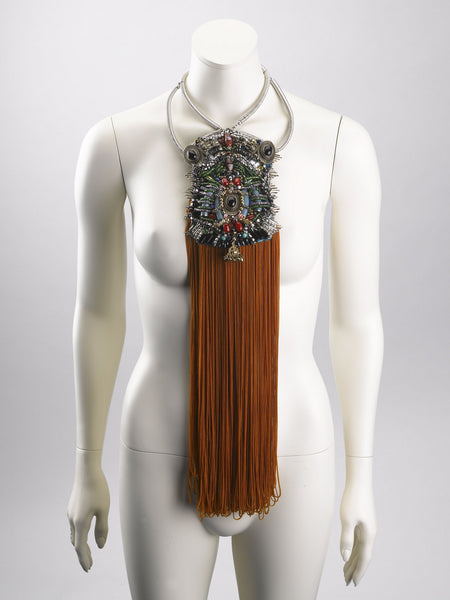 Zara Beaded Embellished Multi-Stone Tassel Necklace