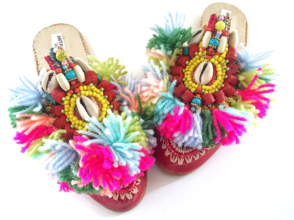 Zaylee Embellished Leather And Raffia Tassel Slippers