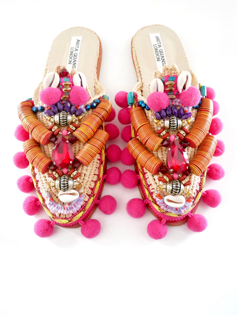 Zuly Embellished Raffia And Leather Pom-Pom Slippers