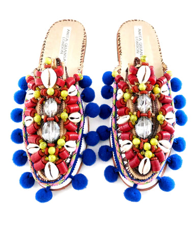 Zaza Beaded Crystal Pom-Pom Raffia And Leather Slippers