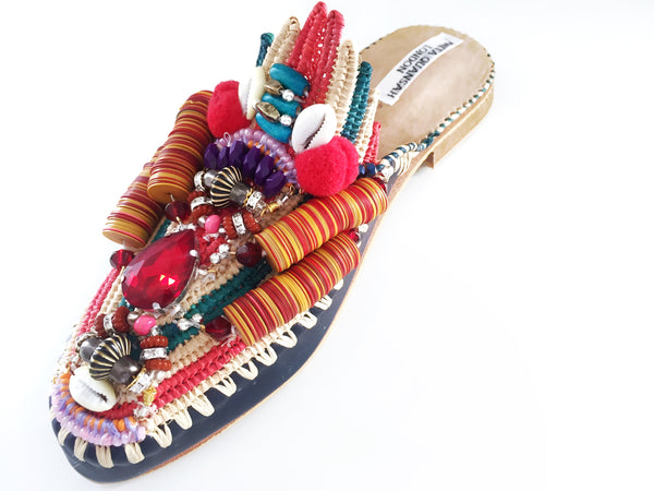 Zuly Embellished Raffia And Leather Slippers