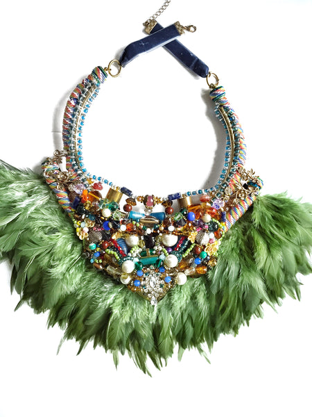 Celia Multi-Stone Feather Statement Necklace