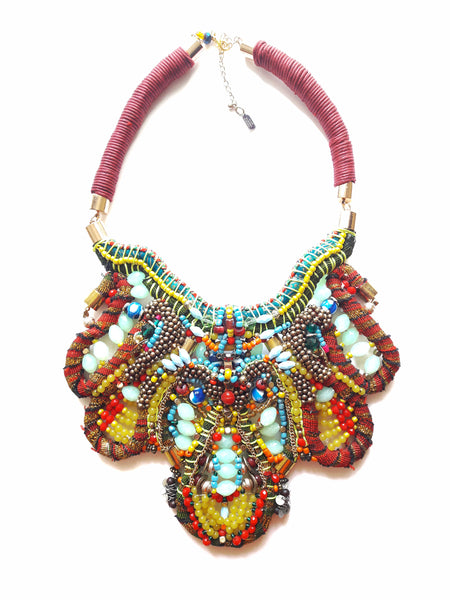 Amya Beaded Multi-Stone Statement Necklace
