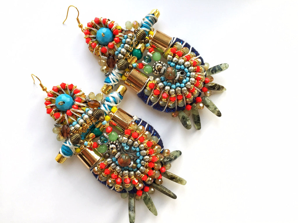 Kisaya Beaded Statement Earrings