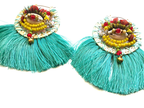 Tulay Embellished Statement Hoop Earrings