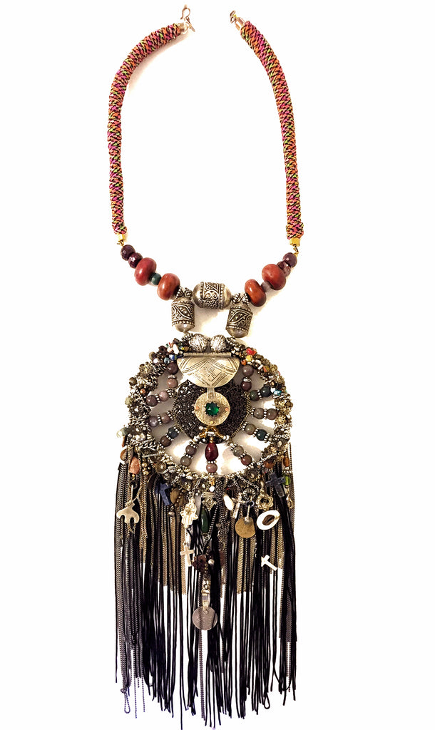 Fanaka Beaded Embellished Moroccan Amulet Tassel Necklace