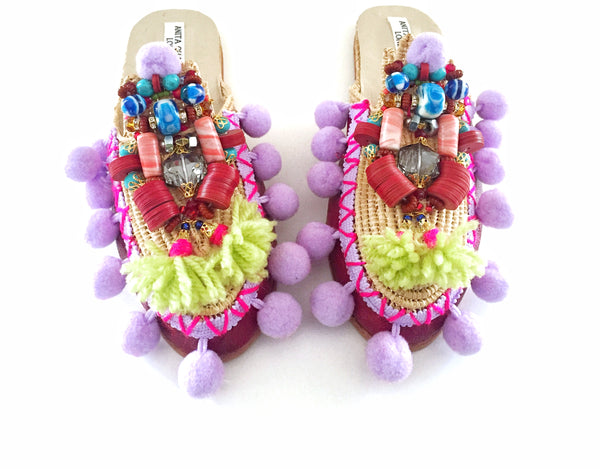 Poppy Beaded Embellished Leather Raffia Tassel And Pom-Pom Slippers By Anita Quansah London