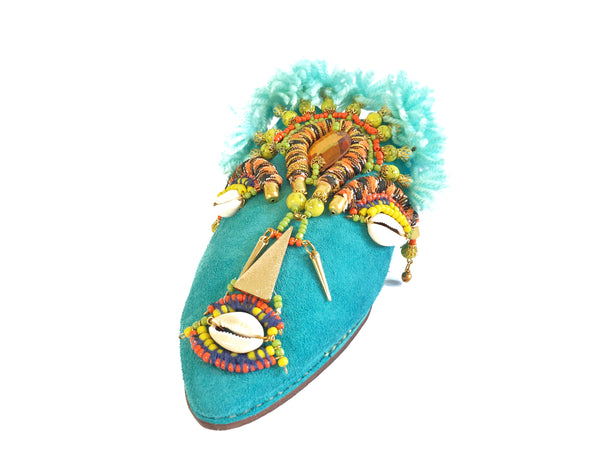 Keely Embellished Mask Crystal Tassel Blue Suede Leather Mules By Anita Quansah London