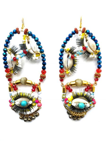 Orlina Beaded Statement Drop Earrings