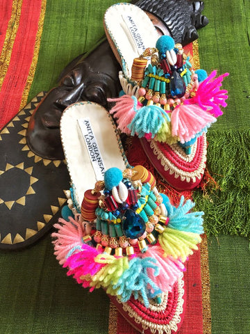 Theona Embellished Tassel Slippers Anita Quansah London