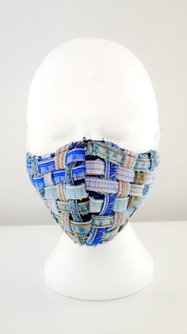 Reusable, Washable, Distressed, Denim Weave Face Mask