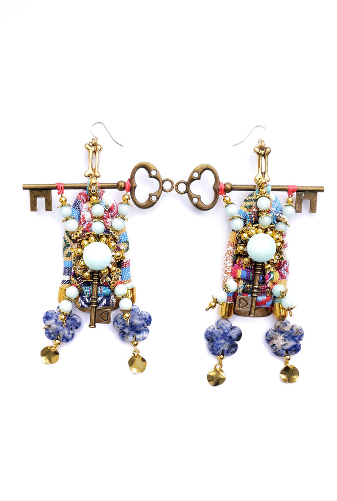 Faizah Amazonite Gemstone-Embellished Key Drop Earrings