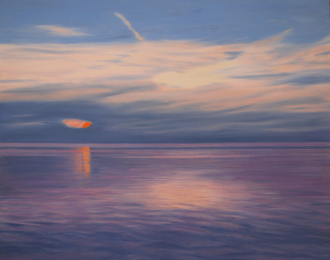 Double Reflection: Sunset on Lake Michigan | Landscape Painting