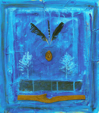 Ancient Knowledge, Collage in Blue With Feathers and Wood