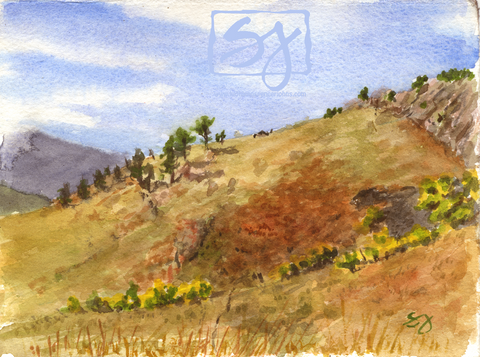 "Looking South 5.5"" x 7.25"" Watercolor"