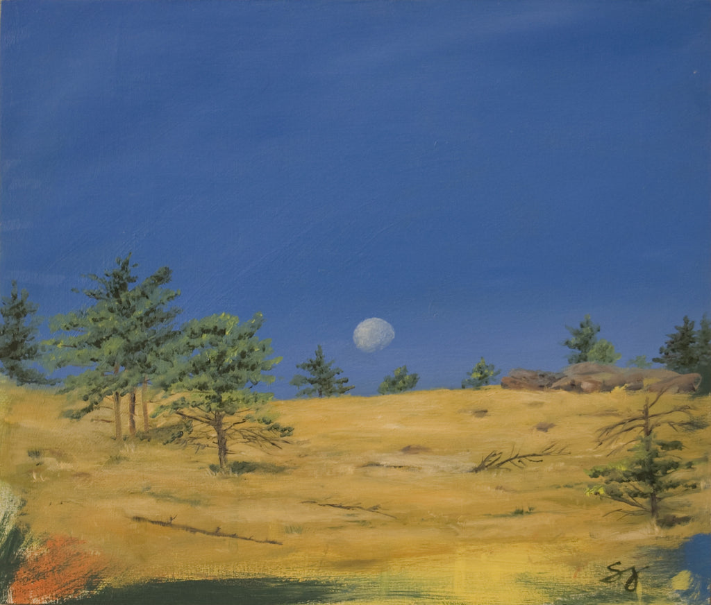 Moon Over the Foothills of Boulder - Landscape Painting