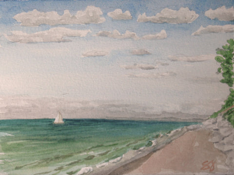 "Sailing On 5"" x 7"" Watercolor"
