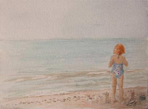 "Sand Castle Day 5"" x 7"" Watercolor"