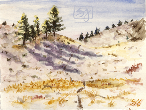 "Snow and Shadows 5.25"" x 7"" Watercolor"