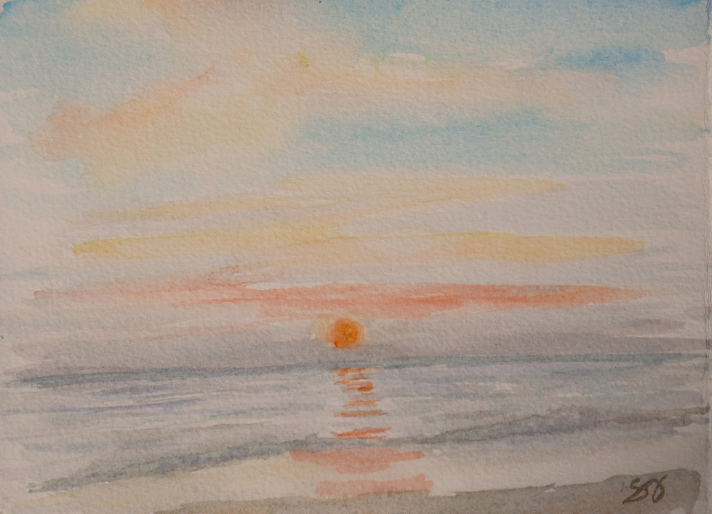 "Sunday Sunset 5"" x 7"" Watercolor"