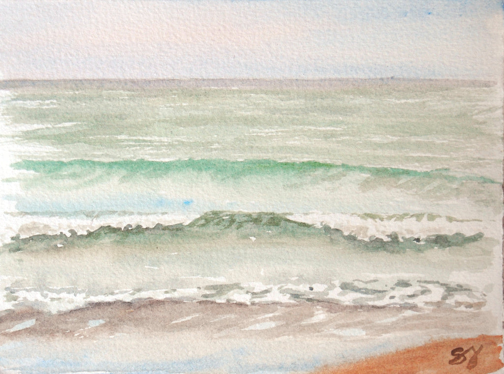 "Waves 1-2-3- 5"" x 7"" Watercolor"