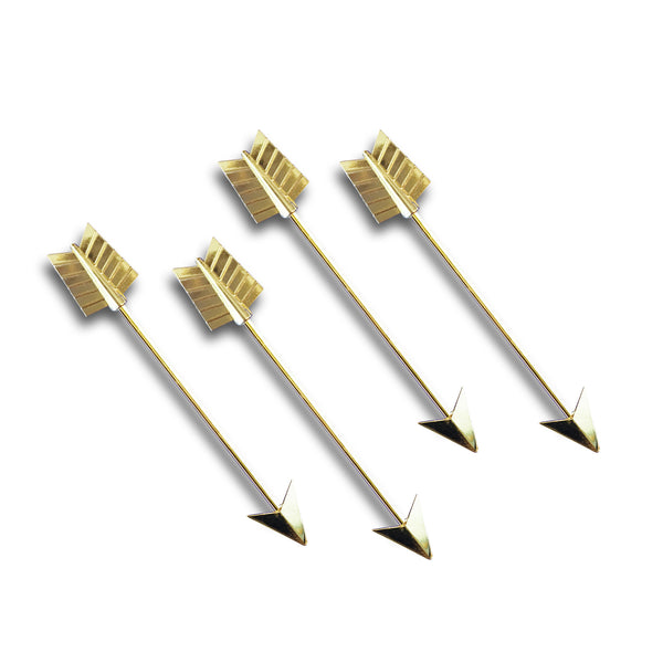 Short Metal Golden Arrow Stirrers - 4 Pc Limited Edition Original Hip-Stirrer Short Gold-Plated Metal Arrow w/Gift Box