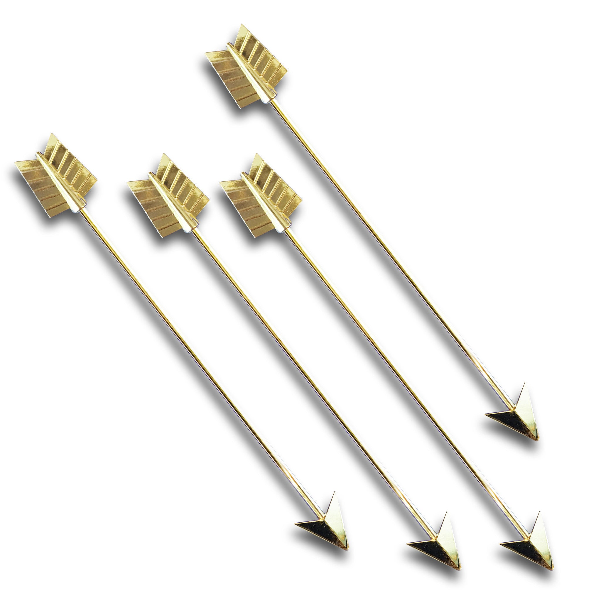 Tall Metal Gold Plated Arrow Stirrers - 4 Pc Set w/Gift Box