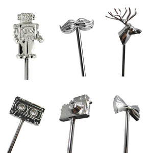 Short Metal Variety Stirrers - 6 Pc Set w/Gift Box