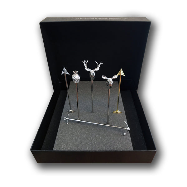 Short Deluxe Metal Variety Stirrers - 6 Pc Set w/Gift Box
