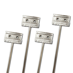 Short Metal Cassette Tape Stirrers - 4 Pc Set