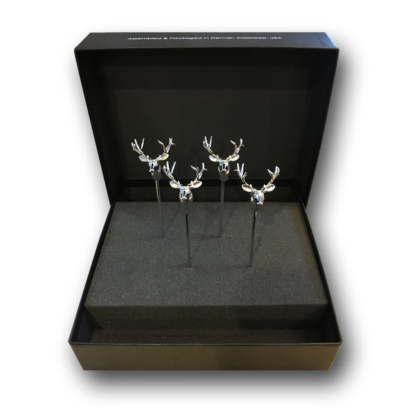 Short Metal Stag Stirrers - 4 Pc Set w/Gift Box