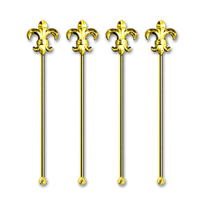 Deluxe Short Metal Gold Plated Fleur-De-Lis Stirrer - 4 Pc Set w/ Gift Box